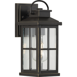 Williamston Collection One-Light Antique Bronze and Clear Glass Transitional Style Small Outdoor Wall Lantern