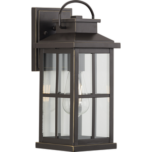 Williamston Collection One-Light Antique Bronze and Clear Glass Transitional Style Medium Outdoor Wall Lantern
