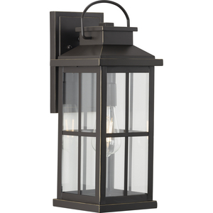 Williamston Collection One-Light Antique Bronze and Clear Glass Transitional Style Large Outdoor Wall Lantern