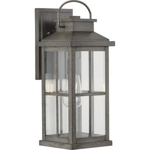 Williamston Collection One-Light Antique Pewter and Clear Glass Transitional Style Large Outdoor Wall Lantern