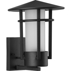 Exton Collection One-Light Textured Black and Etched Seeded Glass Modern Style Medium Outdoor Wall Lantern