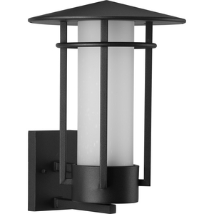 Exton Collection One-Light Textured Black and Etched Seeded Glass Modern Style Large Outdoor Wall Lantern