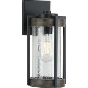 Whitmire Collection  One-Light Matte Black with Aged Oak Accents Clear Seeded Glass Farmhouse Outdoor Wall Lantern Light