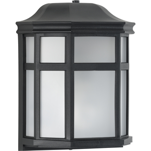 Milford Non-Metallic Lantern Collection  One-Light Textured Black Frosted Shade Traditional Outdoor Wall Lantern Light