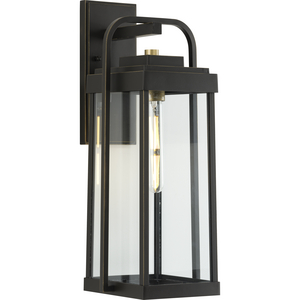 Walcott Collection  One-Light  Antique Bronze with Brasstone Accents Clear Glass Transitional Outdoor Wall Lantern Light