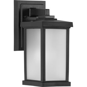 Trafford Non-Metallic Lantern Collection  One-Light Textured Black Frosted Shade Traditional Outdoor Wall Lantern Light