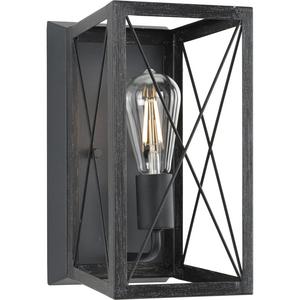 Briarwood Collection One-Light Cerused Black Oak/Black Farmhouse Wall Sconce Light