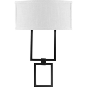 LED Shaded Sconce Collection Black One-Light Square Wall Sconce