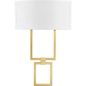 LED Shaded Sconce Collection Brushed Bronze One-Light Square Wall Sconce