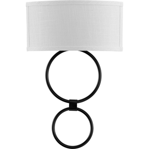 LED Shaded Sconce Collection Black One-Light Circle LED Wall Sconce