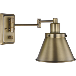 Hinton Collection Vintage Brass Swing Arm Wall Light
