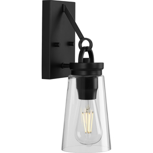 Stockbrace Collection One-Light Matte Black and Clear Glass Farmhouse Style Wall Light