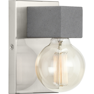 Mill Beam Collection One-Light Brushed Nickel/Faux Concrete Industrial Style Wall Light