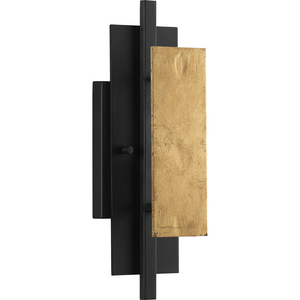 Lowery Collection One-Light Textured Black/Distressed Gold Wall Sconce Light