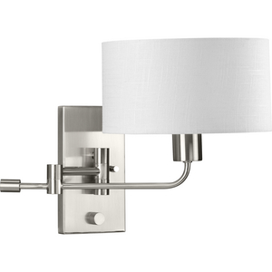 Carrick Collection  One-Light Brushed Nickel Summer Linen Shade Transitional Wall Light