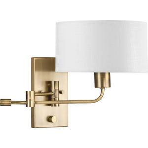 Carrick Collection  One-Light Vintage Brass Summer Linen Shade Transitional Wall Light