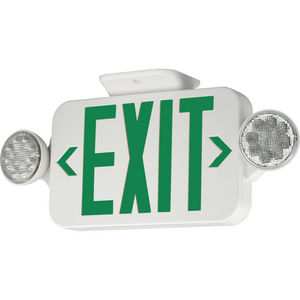 LED exit sign with green letters