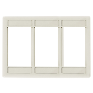 iSTATION, Front Loading Module Frame, 3-Gang, 3-Unit, Light Almond/Office White