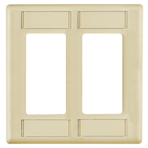 iSTATION, Wallplate, IFP Style Line Cover Plate with Label Fields, Single-Gang, Ivory