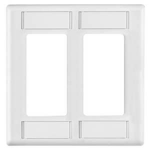 iSTATION, Wallplate, IFP Style Line Cover Plate with Label Fields, Single-Gang, White
