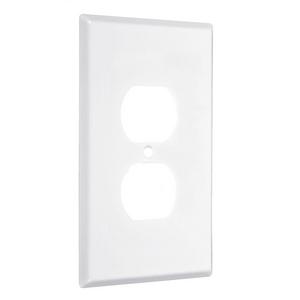 1-Gang Metal Wallplate, Jumbo, Duplex, White Smooth