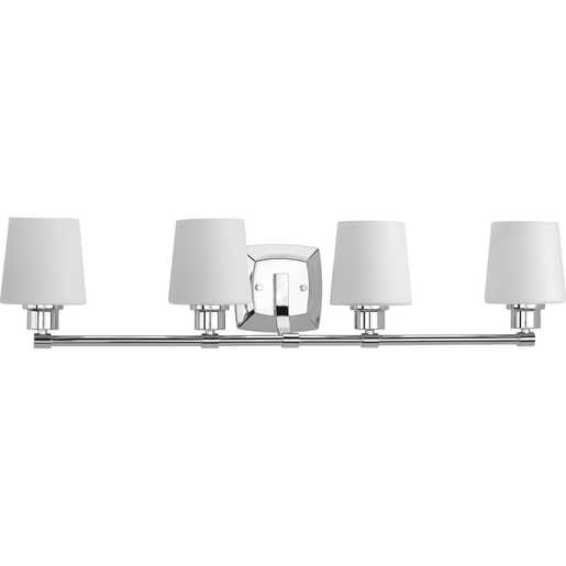 Glance Collection Four Light Polished Chrome Etched White Linen Glass Farmhouse Bath Vanity Light P300019 015 Hubbell