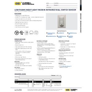 LightHAWK Night Light Passive Infrared Wall Switch Sensor Specification Sheet