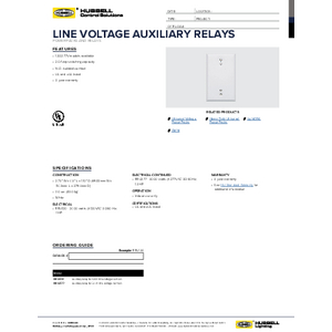 Line Voltage Auxiliary Relay Specification Sheet