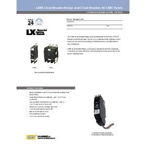 LXBR Breaker/Relays Specification Sheet