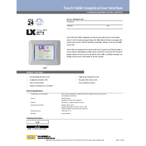 LX TB Tablet Specification Sheet