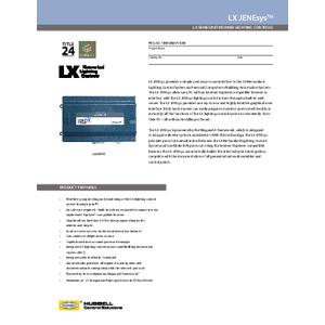LX JENEsys Specification Sheet