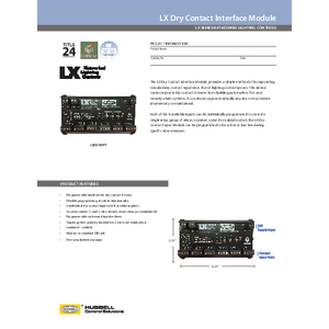 LX Dry Contact Specification Sheet
