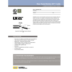 Rised Rated Belden 8471 Cable Specification Sheet