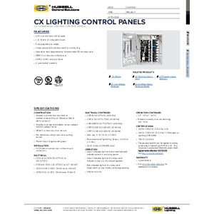 CX™ Lighting Control Panels Specification Sheet