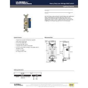 Heavy Duty Low Voltage Switch Specification Sheet