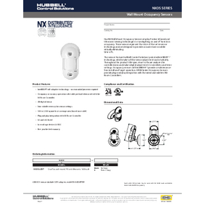 NX Wall Mount Occupancy Sensors Specification Sheet