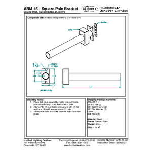 ARM-16 - Square Pole Bracket