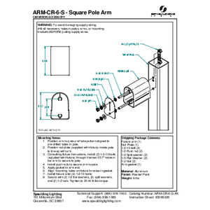 ARM-CR-6-S - Square Pole Arm
