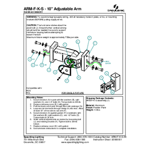 "ARM-F-K-S - 10"" Adjustable Arm"