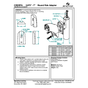 """CRDRPA 2.875"""" - 7"""" Round Pole Adapter"""