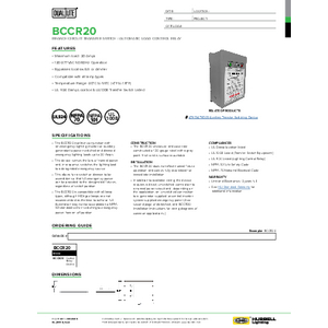 BCCR20 Specification Sheet