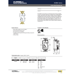 Controlled Receptacle Specification Sheet