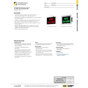Obsidian Specification Sheet - Healthcare