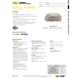 Hazardous Kemlux III LED Specification Sheet