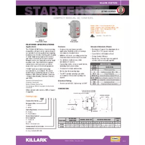 B7MS Series Compact Manual IEC Starters Specification Sheet