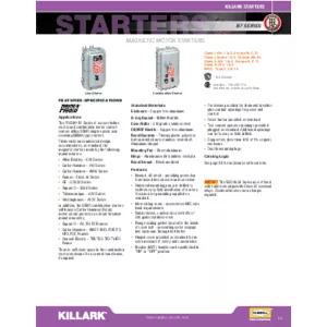 B7 Magnetic & Combination Motor Starters Specification Sheet