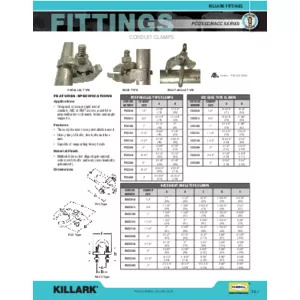 Conduit Clamps Specification Sheet