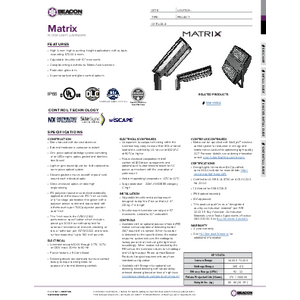 Matrix Specification Sheet