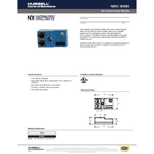 NX Dry Contact Input Specification Sheet