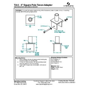"""TA-5 - 5"""" Square Pole Tenon Adapter"""